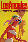 TX165 Vintage Los Angeles America Airline Travel Tourism Art Poster Re-print A3