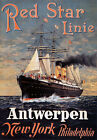 TX194 Vintage Red Star Line Antwerpen Liner Shipping Travel Poster Re-Print A4