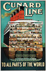 TX203 Vintage Cunard Line All Parts Of World Cruise Shipping Travel Poster A4
