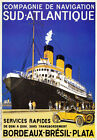 TX212 Vintage Sud Atlantique French Shipping Cruise Travel Poster Re-Print A2/A3