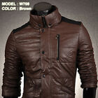 Jeansian Mens Jackets Coats Shirts PU Faux Leather Outerwear Top S M L XL W708