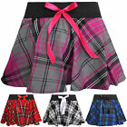 "NEW LADIES CIRCULAR TARTAN MINI SEXY MICRO 9"" CHECK BOW FANCY DANCE SKATER SKIRT"