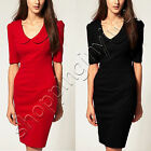 Womens Peter Pan Collar Zip Back Bodycon High Street Office Skirts Pencil Dress