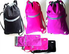 DRAWSTRING RUCK SACK ZIP POCKET GYM/SWIM/CASUAL BAG/Canvas Pink/Black/Purple