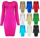 Womens Mini Bodycon Dress Long SLeeved Block Colour Ladies New Sz 8-14