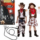 Cowboy Cowgirl Boys Girls Childs Kids Fancy Dress Costume Opt Gun, Whip Age 3-12