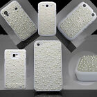 Luxury Bling Pearl Lace Hard Back Cute Case White Cover Free 1 Screen Protector