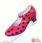 New Spanish Flamenco Dance Shoes Red & Black Polka Dot - All Sizes In Stock