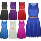 Womens Belted Sleeveless Ladies Lace Mesh Franki Pleated Flared Skater Dress Top