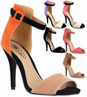 Ladies High Stiletto Heel Open Toe Back Ankle Strap Faux Suede Sandals Shoes 3-8