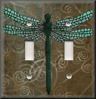 Light Switch Plate Cover - Dragonfly With Brown Swirl Background - Home Decor
