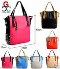 New Womens Ladies Studded Spikes Designer Bag Faux Leather Tote Shopper Handbag