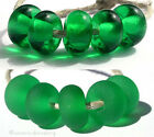 5 DARK EMERALD GREEN * donut handmade lampwork glass spacer beads TANERES sra