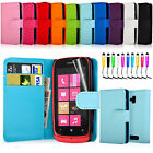 Flip Wallet Leather Case Cover For Nokia Lumia 610 Free Screen Protector&Stylus