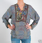 Tolani Anyra Top Tunic Blouse in Grey Floral 8257
