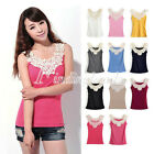 Summer Lace Flower Crochet Ribbed Tank Top Sleeveless T-shirt Casual Cami
