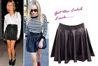 New Ladies Womens Shiny Celeb Faux Leather Pu Wet Look Skater Mini Skirt S M L