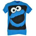 Sesame Street Cookie Monster Big Face Adult Mens Tshirt Shirt Blue Tee