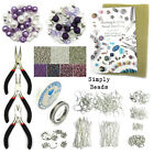 LARGE JEWELLERY MAKING KIT - SILVER FINDINGS ELASTIC TIGERTAIL BEADS MAT CHARMS