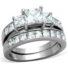 316 Stainless Steel Tarnish Free Womens CZ Wedding 2 Rings Set SIZE 5,6,7,8,9,10