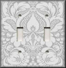 Light Switch Plate Cover - Floral Damask - Silver Grey - Home Decor