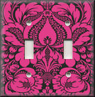 Light Switch Plate Cover - Floral Damask - Black And Pink - Home Decor