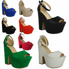 SALE WOMENS LADIES PEEPTOE PLATFORM BUCKLE CUTOUT WEDGES HEEL COURT SHOES 3-8 UK