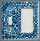 Metal Light Switch Plate Cover Italian Tile Design Pattern Grey Blue Home Decor