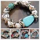 SD563-688 Natural Agate Silvered Turquoise Coral Stretch Bracelet Bangle 23KNSF3