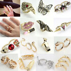 Metallic Retro Vintage Rhinestone Double Three Finger Ring Gothic Jewelry PUNK