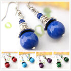 EH537 1 Pair Tiberan Silver Gemstone Turquoise Coral Handmade Tibet Earrings