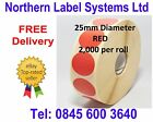 25mm Diameter Circular RED Labels for Zebra, Citizen, Toshiba, Godex etc