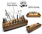Fly Tying Hardwood Tying Tools Rack - Fly Clips - for Fly Drying & Fly Display