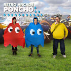 Retro Arcade Poncho Red & Blue Festivals Camping Holidays Waterproof Fancy Dress