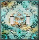 Switch Plate Cover - Bohemian Gypsy Damask - Home Decor Aged Turquoise Aqua Blue