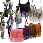Faux Suede Layered Fringed Trim Duffle Slouch Shoulder Bag Messenger Across Body
