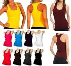 Women's Racerback Sleeveless Tank Top Basic Polyester Solid Ribbed Cami TT400