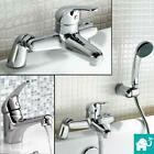 Modern Chrome Bathroom Deck Mount Basin Sink Mixer Bath Filler Hand Held Shower