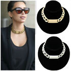 Fashion Punk Golden Aluminum Alloy Link ID Chunky Chain Choker Necklace Jf439