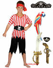 Boys Kids Childs PIRATE Fancy Dress Costume Hat, Sword, Gun, Eye Patch, Parrot