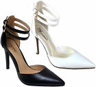 Ladies Mid High Heels Ankle Strap Pointed Stiletto Court Shoes Womens Pumps Size