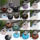Natural Gemstone Gems Donut Coin Tube Butterfly Round Beads Pendant SP Necklace