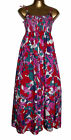 12 14 Maxi Dress 70s Print Pink Red Blue Lime Ruched Strappy Floral Cotton 60s