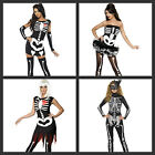 Ladies Skeleton Costume Halloween Tutu Catsuit Fancy Dress - ALL SIZES