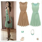 Hot Sale Women's Summer New Sleeveless Pleated Chiffon Vest Dress Skirt