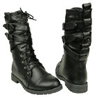 New Women's Mid Calf Strappy Lace Up  Military Combat Boots Black Sizes 5.5-10