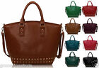 Women's Ladies Celebrity Fashion Studded Faux Leather Tote Handbag Shoulder Bag
