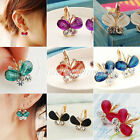 1 Pair Sweet Butterfly Crystal Rhinestone Ear Studs Earrings Animal Wholesale