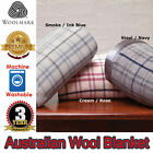 Machine Washable - 400gsm AUSTRALIAN WOOL CHECKED BLANKET - Queen King