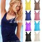 Sexy Women's V Vest Lace Hollowed Tank Tops Bodycon M/L Casual Sleeveless Cami